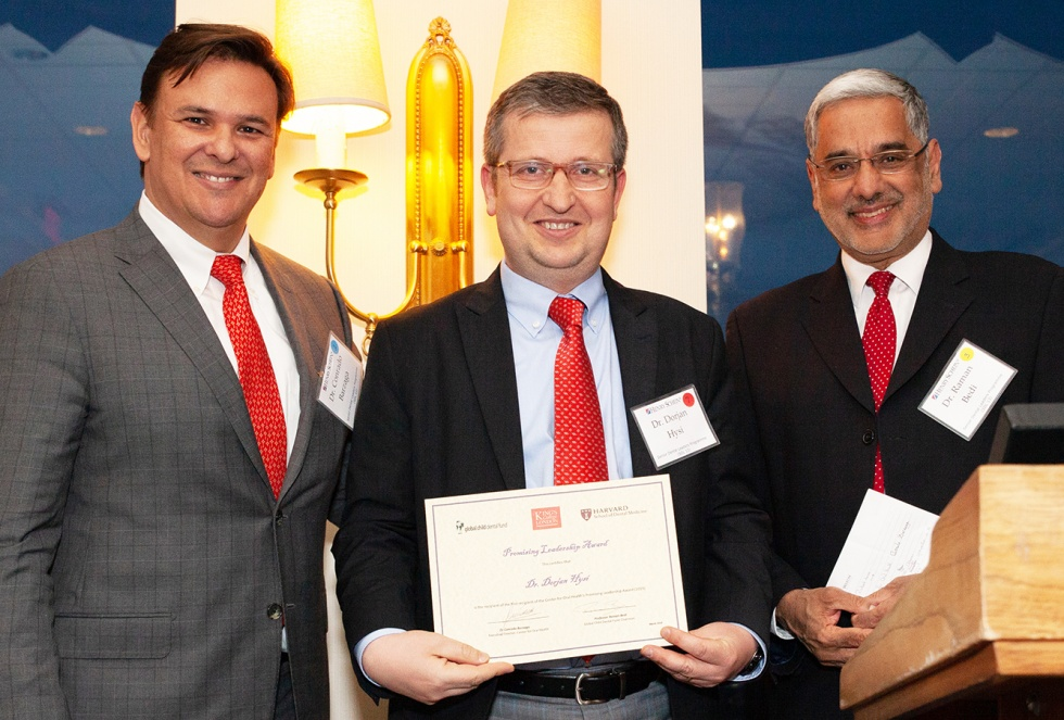 Photo from left to right: The Center for Oral Health's Executive Director, Conrado Barzaga, Dr Dorjan Hysi and Professor Raman Bedi, Chairman, GCDFund